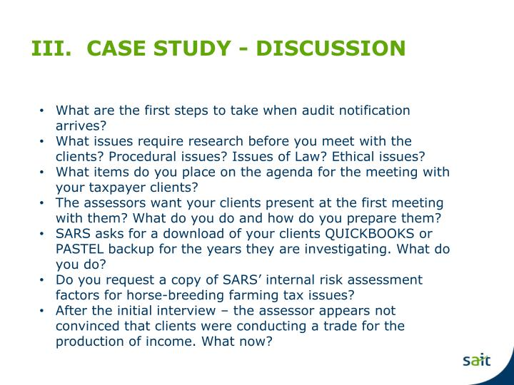 III.  CASE STUDY - DISCUSSION
