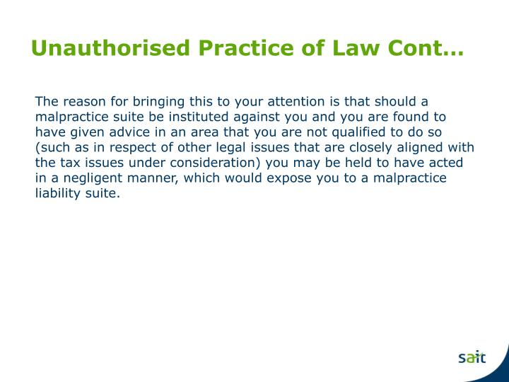 Unauthorised Practice of Law