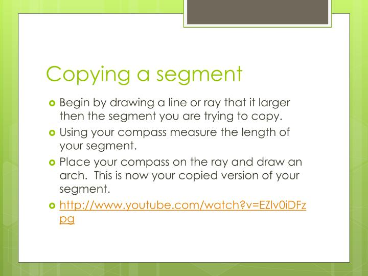 Copying a segment