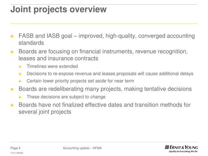 Joint projects overview