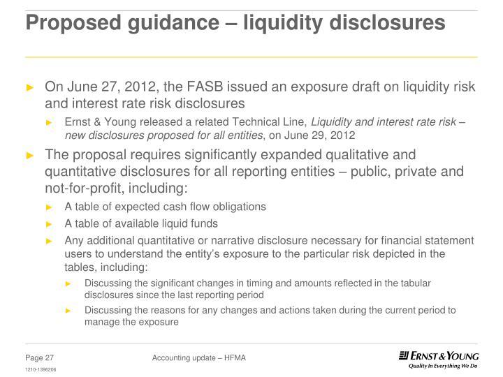 Proposed guidance – liquidity disclosures