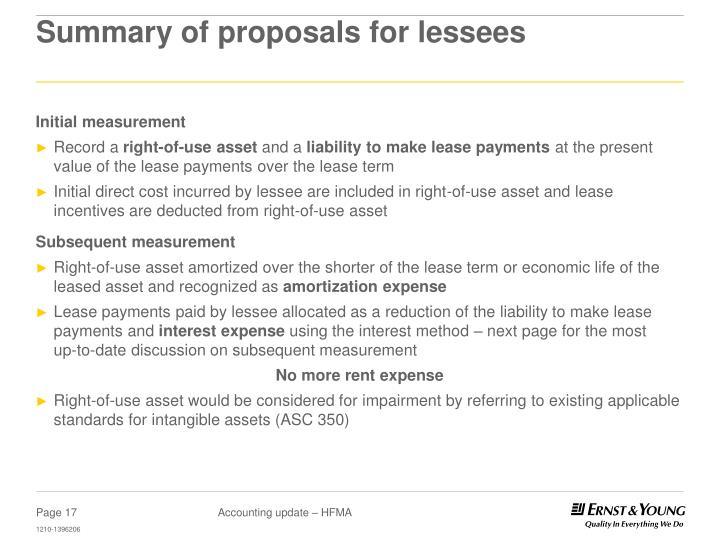 Summary of proposals for lessees