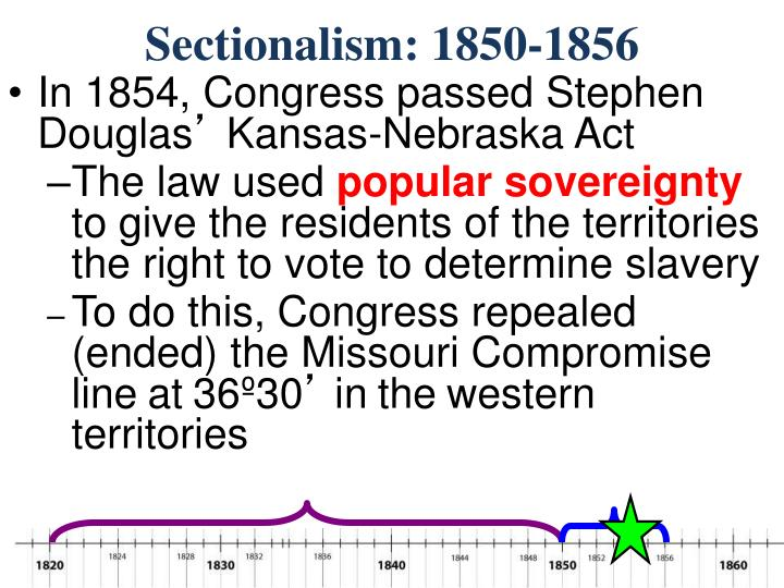 Sectionalism: 1850-1856