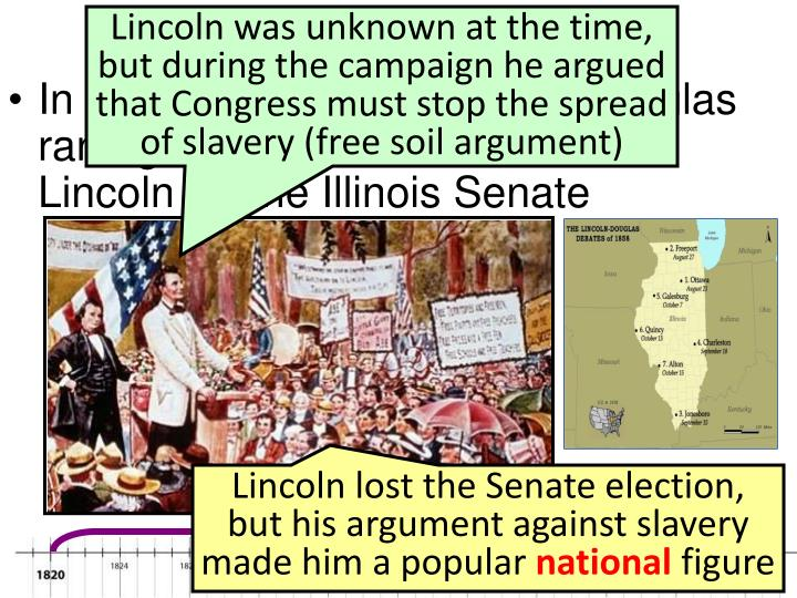 Lincoln was unknown at the time, but during the campaign he argued that Congress must stop the spread of slavery (free soil argument)