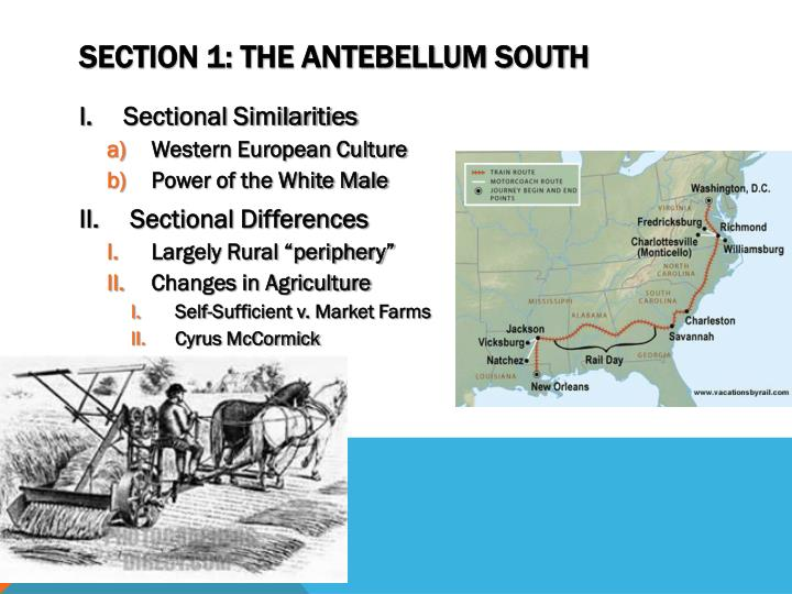 Section 1 the antebellum south