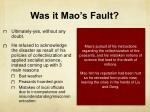 was it mao s fault
