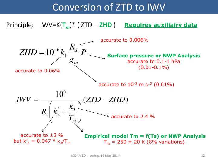 Conversion of ZTD to IWV