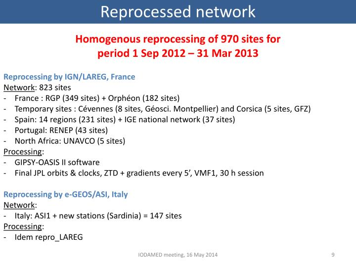 Reprocessed network