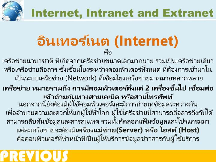 Internet, Intranet and Extranet
