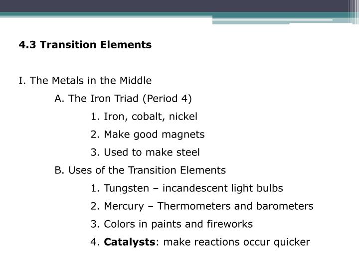 4.3 Transition Elements