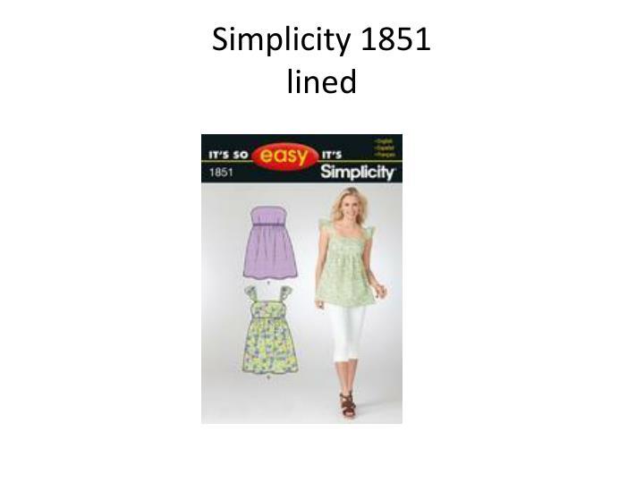 Simplicity 1851
