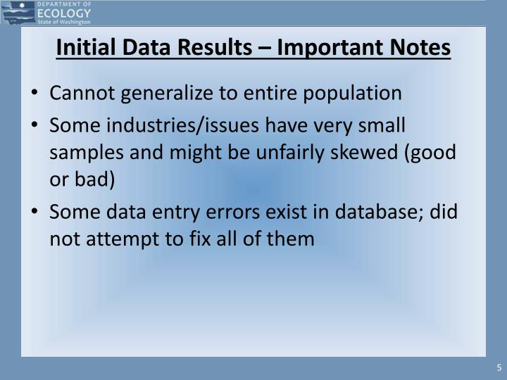 Initial Data Results – Important Notes