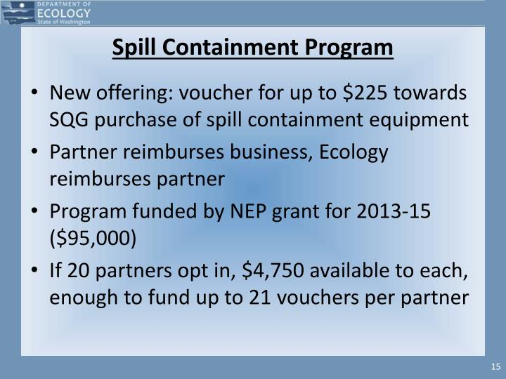 Spill Containment Program