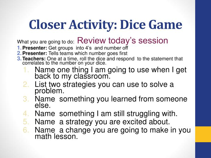 Closer Activity: Dice Game