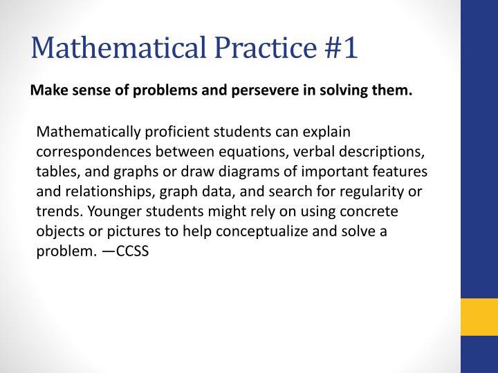 Mathematical Practice #1