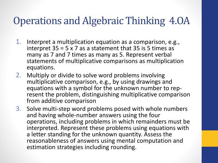 Operations and Algebraic Thinking  4.OA