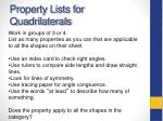 property lists for quadrilaterals