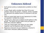 unknown addend