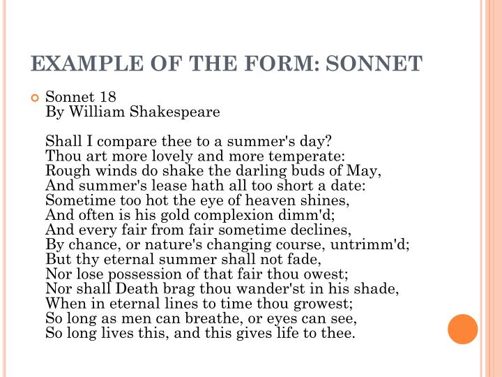 Example of the form sonnet
