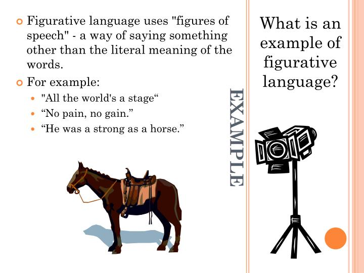 "Figurative language uses ""figures of speech"" - a way of saying something other than the literal meaning of the words."