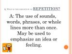 q what is the definition of repetition