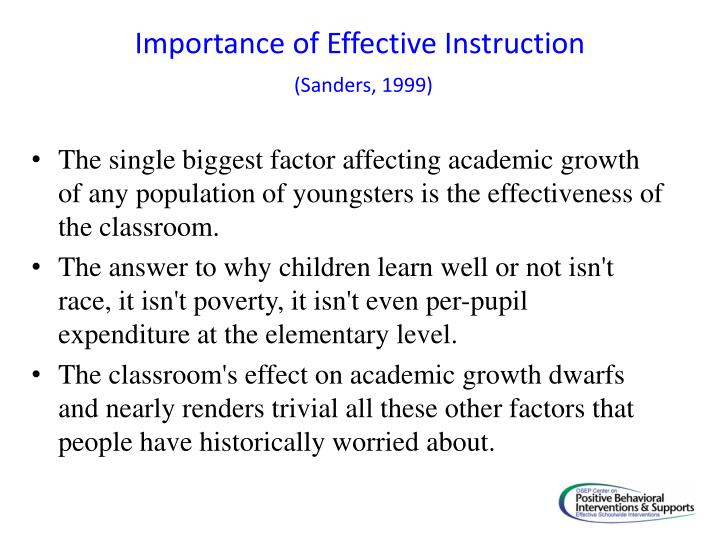 Importance of Effective Instruction