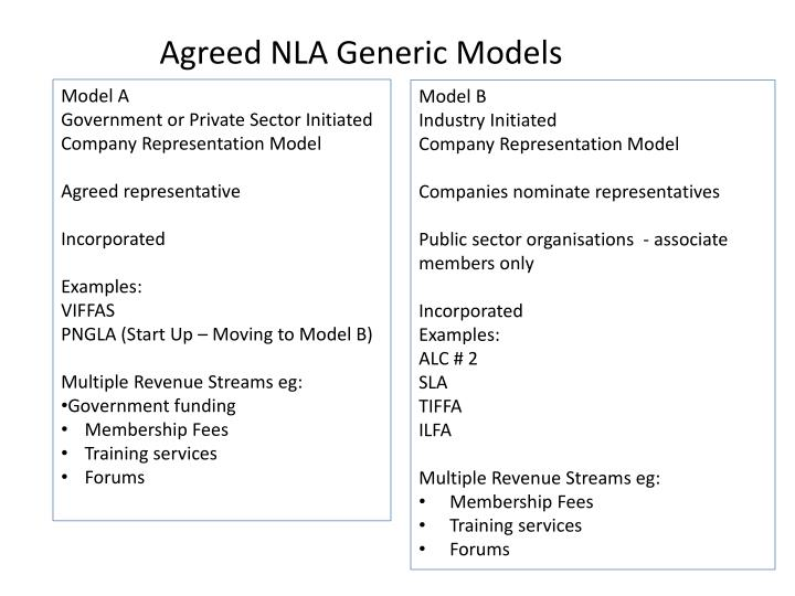 Agreed NLA Generic Models
