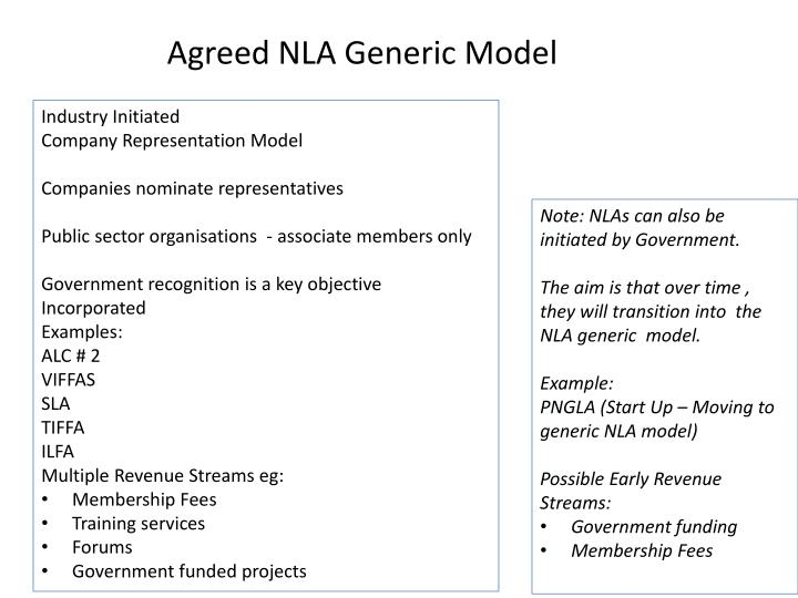 Agreed NLA Generic Model