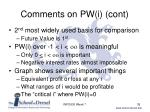 comments on pw i cont