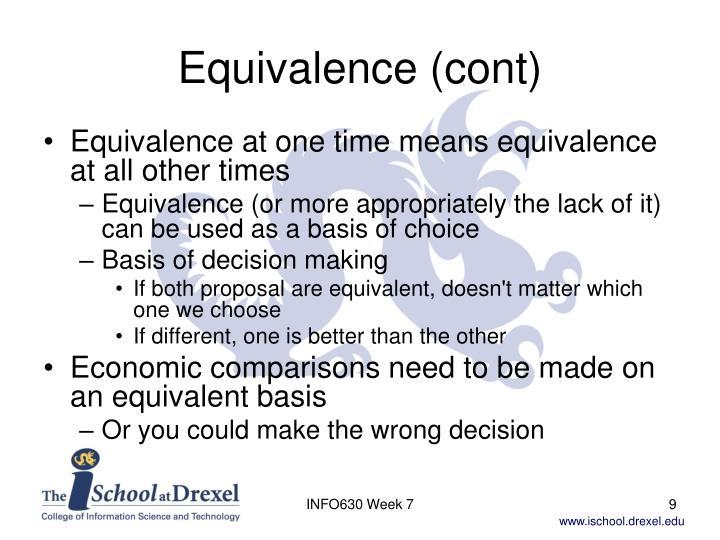 Equivalence (cont)