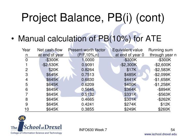 Project Balance, PB(i) (cont)