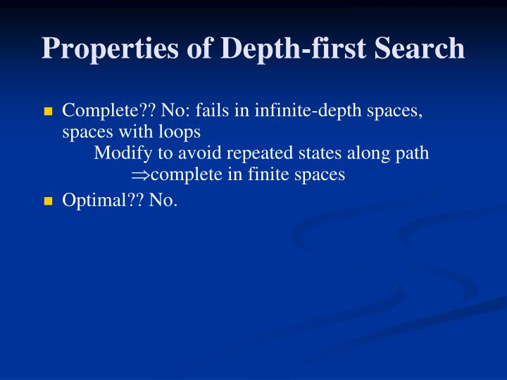 Properties of Depth-first Search