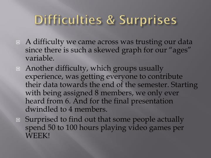 Difficulties & Surprises