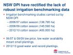 nsw dpi have rectified the lack of robust irrigation benchmarking data