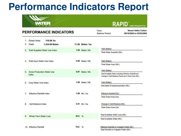 Performance Indicators Report