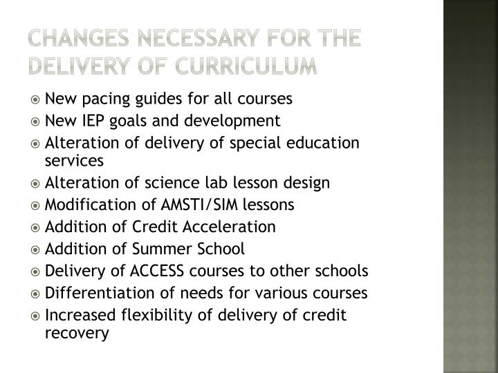 Changes necessary for the delivery of curriculum