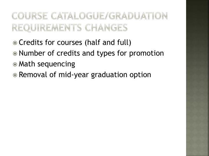 Course catalogue/graduation requirements changes