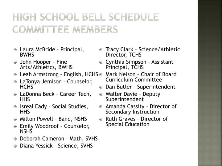 High School Bell Schedule Committee members