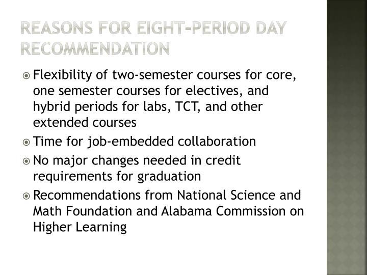 Reasons for eight-period day recommendation
