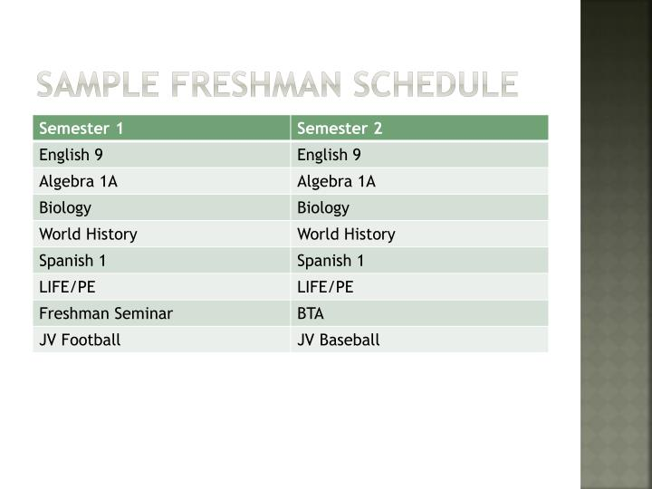 Sample freshman Schedule
