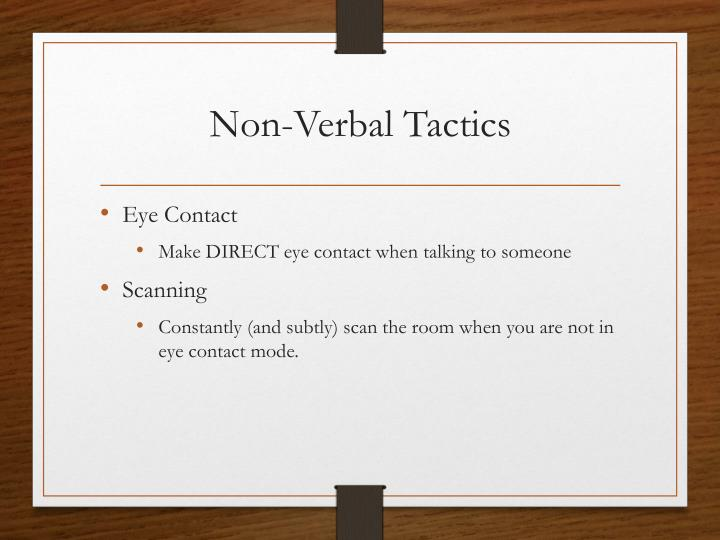 Non-Verbal Tactics