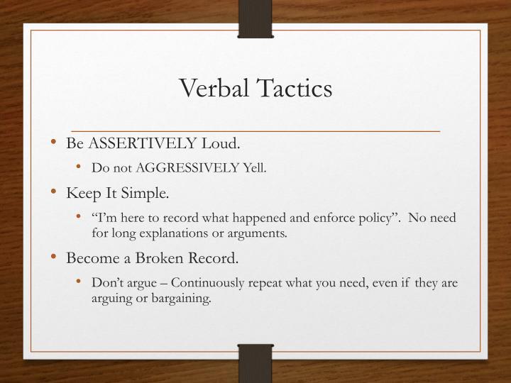 Verbal Tactics