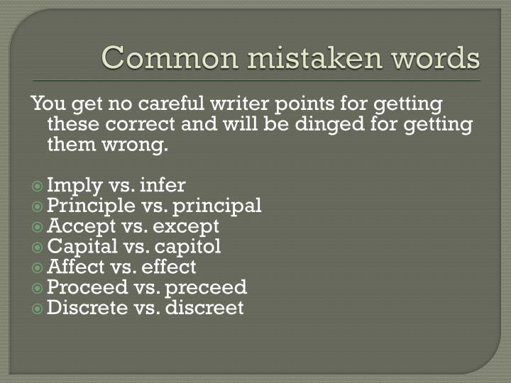 Common mistaken words