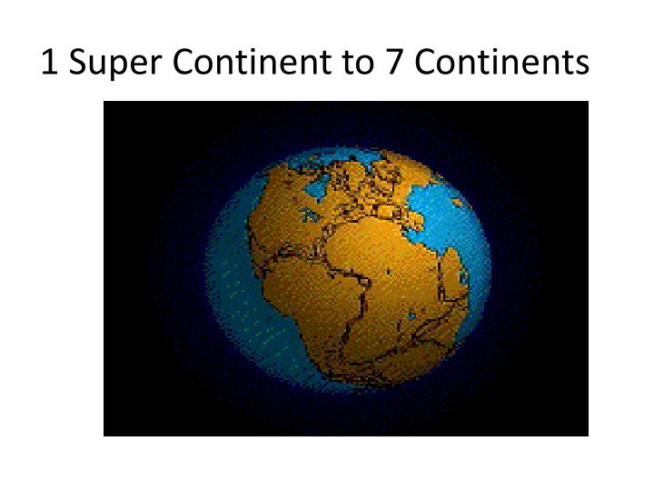 1 Super Continent to 7 Continents