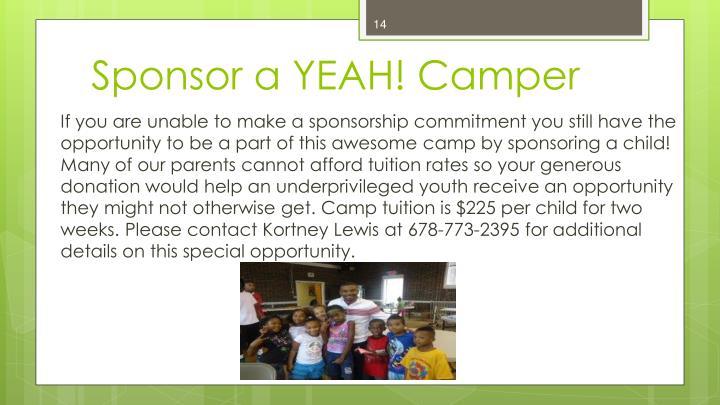 Sponsor a YEAH! Camper