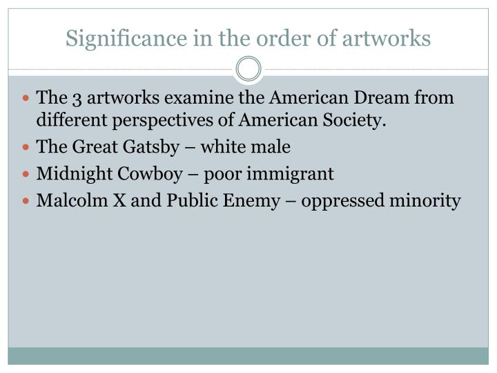Significance in the order of artworks