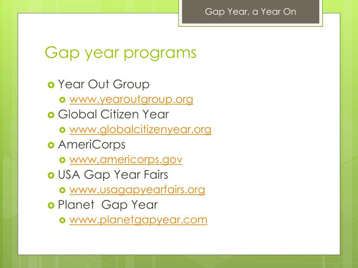 Gap year programs