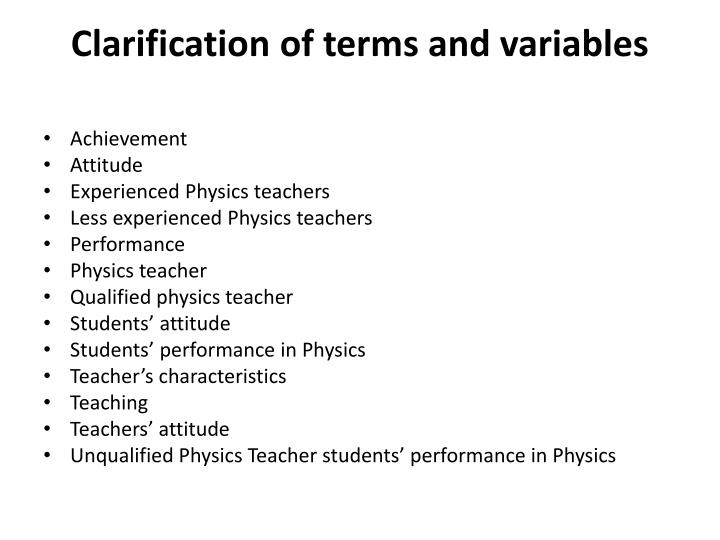 Clarification of terms and variables