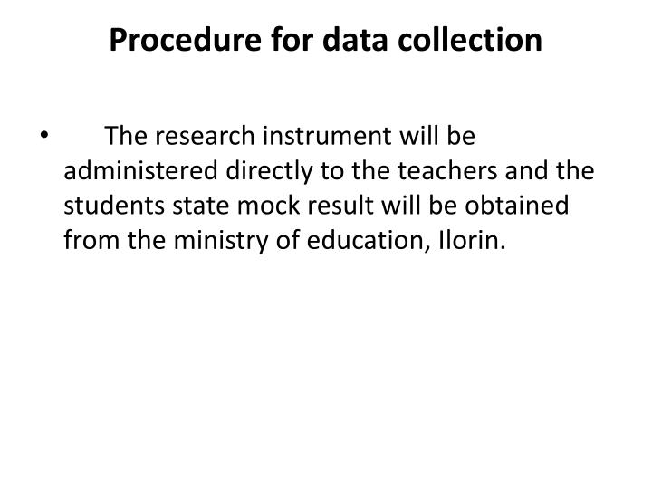 Procedure for data collection