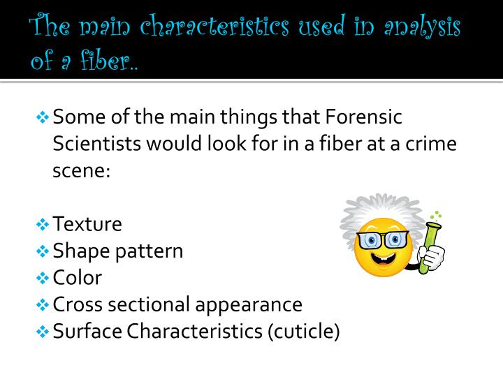 The main characteristics used in analysis of a fiber..